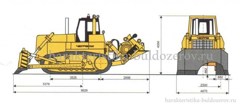 Габаритные размеры ЧЕТРА Т-35.01Л с тяговым агрегатом.